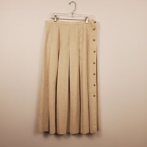 Orvis Flax long pleated skirt women's size 14